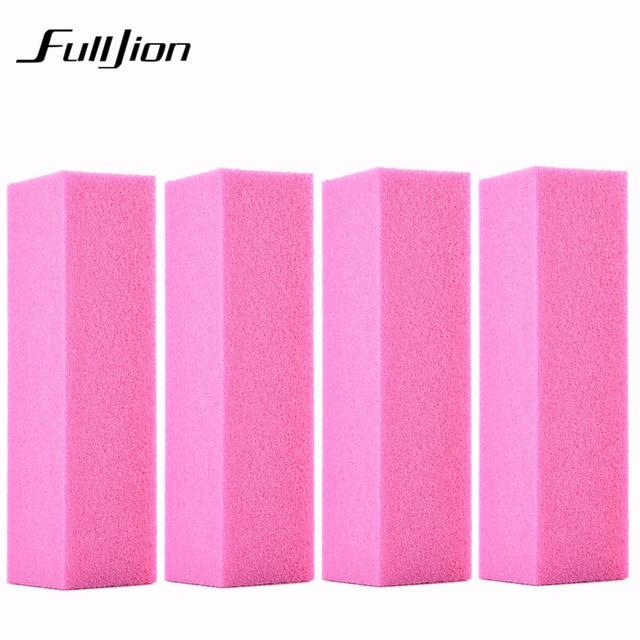 Fulljion 4pcs Lot Pro Nail Buffer File Pink Sponge DIY Buffering Polishing Manicure