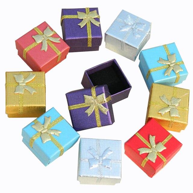 Jewelry Box With Black Sponge 4X4X3cm Small Square Cardboard Earrings Gift Box Fashion Jewelry Display Organizer Packaging