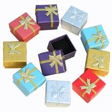 Sieraden Doos Met Zwarte Spons 4X4X3 cm Kleine Vierkante Kartonnen Oorbellen Geschenkdoos Mode sieraden Display Organizer Verpakking