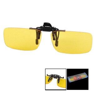 EAS-прямоугольная прозрачная желтая линза без оправы на клипсе ночного видения, очки для вождения