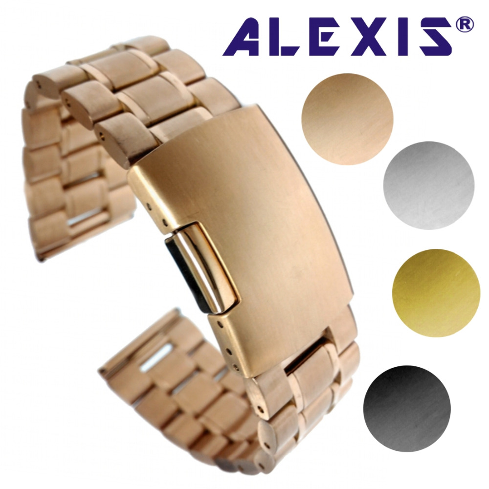 20mm 22mm 24mm Solid Stainless Steel Watch bracelet Band Silver Rose Gold Black Men Watches Band Gifts Alexis WB1225 friendship gifts birthday gifts fw819e rose gold band white dial ladies elegant alexis brand crystal bracelet watch gifts box