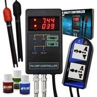 2 в 1 Цифровой pH & ОВП редокс контроллер с отдельным реле Repleaceable электрод BNC Тип зонд мониторинга качества воды тестер