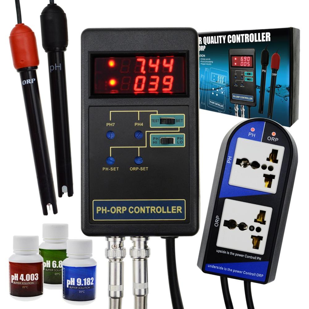 2 in 1 Digital pH & ORP Redox Controller with Separate Relays Repleaceable Electrode BNC Type Probe Water Quality Monitor Tester genuine brand bante general purpose plastic orp electrode sensor probe with platinum pin bnc for strong redox potential
