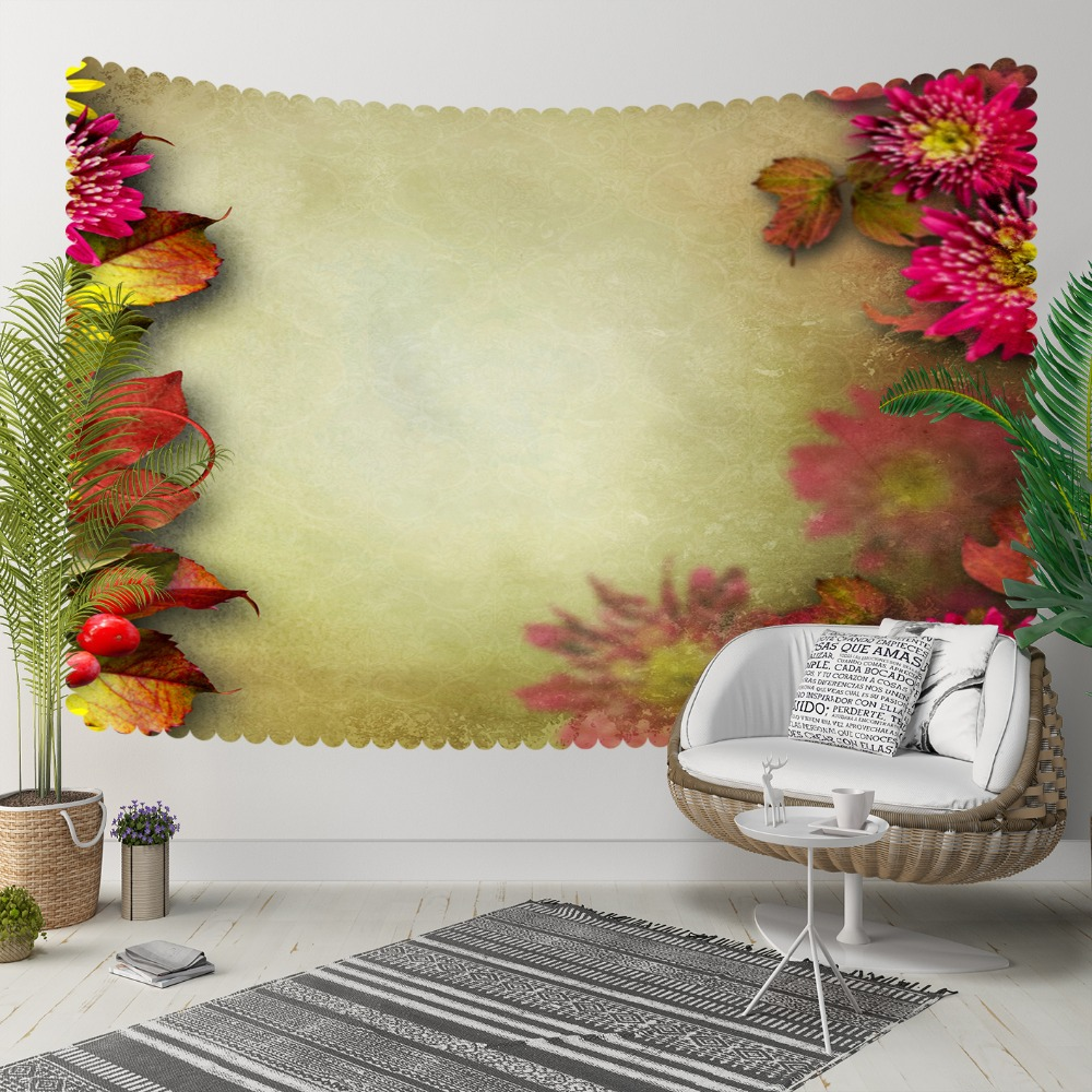 Else Pink Yellow Vintage Flowers Floral Frames 3D Print Decorative Hippi Bohemian Wall Hanging Landscape Tapestry Wall Art