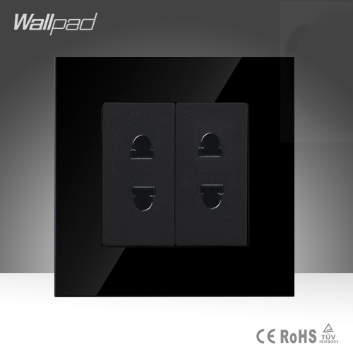 Hotel 2 Pin Universal Socket Wallpad Black Tempered Glass 110V- 250V EU South Africa Electric 2* 2 Pin Wall Plug Socket Ourlet wd 010 5pcs south africa plug to universal socket adapter