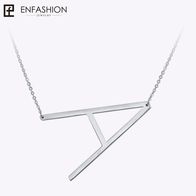 Enfashion Letter Necklaces Pendants Alfabet Initial Necklace Stainless Steel Cho