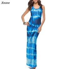 Boho Slim Women Maxi Long Dress Sleeveless Printed Ladies Casual Party Beach Summer Dresses Vestidos 2018 New Plus Size S-5XL