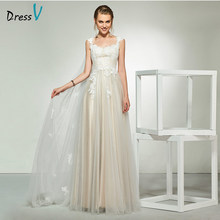 Dressv elegant ivory scoop neck appliques lace cap sleeves wedding dress floor length simple bridal gowns a line wedding dresses(China)