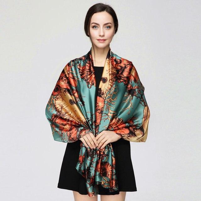180cm*90cm Women 2017 New Fashion Designer Brand Tree Branches all match Long Silk Scarf Big Shawl Wrap YAU024