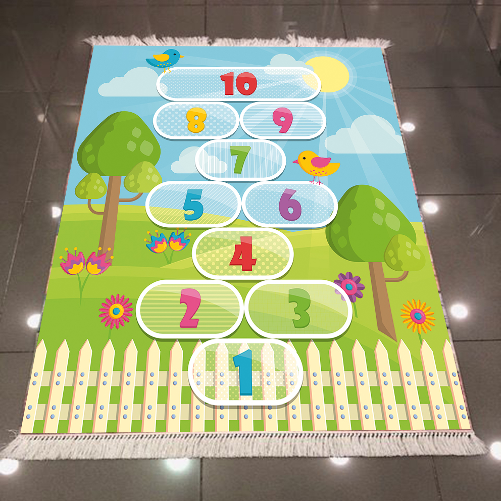 Else Educational Numbers Green Floral Hopscotch Game 3d Print Anti Slip Back Washable Decorative Kilim Kids Room Area Rug Carpet