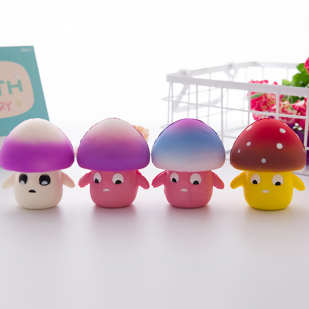 New Cute Color Random Mushroom Baby Charm Sqqueeze Toy Slow Rising Relieves Stress Anxiety Toy For Child Adult Anxiety Attention