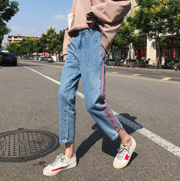 Plus size 5xl women Jeans 2018 spring summer Casual Denim Pants High Waist Ripped Jean Ladies Striped Side Bottom s1779 1