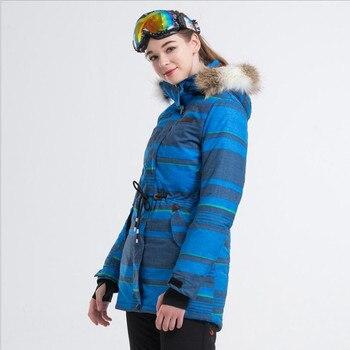 2019 LANLAKA Women Ski Jacket Fur Hooded Windproof Waterproof Waist Rope Clothing Super Warm Winter Jacket Skiing Snowboard Coat