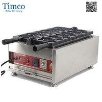 Taiyaki Makinesi Kırmızı Fasulye Elektrikli Aperatif Yiyecek 6 ADET Balık Waffle makinesi