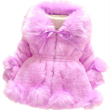Best Sellers 2018 Children's Clothing Girls Imitation Fur Coat Winter Sweater Children's Large Fur Collar Thick Cotton Clothing(China)