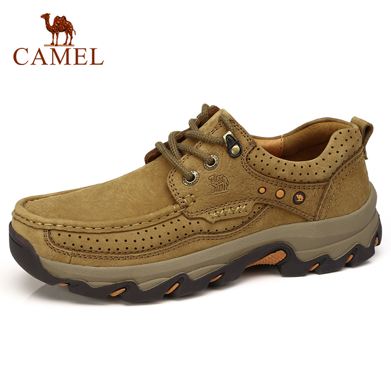 CAMEL Cushioning Men Shoes Matte Genuine Leather Casual Shoes Comfort Wear resistant Non slip Scrub Outdoor
