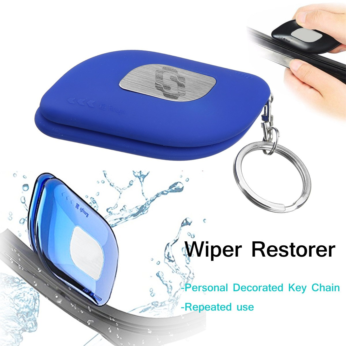 Blue/Black Car Windshield Rubber Strip Wiper Blade Repair Restorer Kit Fine/Rough Blades with Key Ring