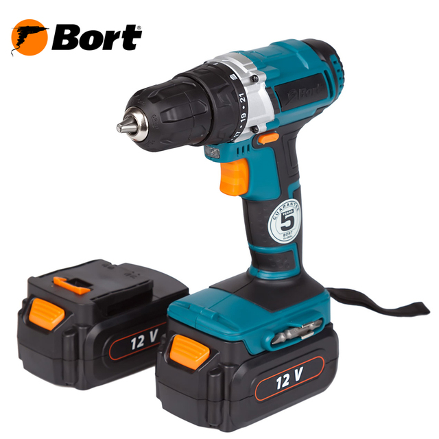 Drill electric screwdriver rechargeable Bort BAB-12-D (2x1, 3A. h)