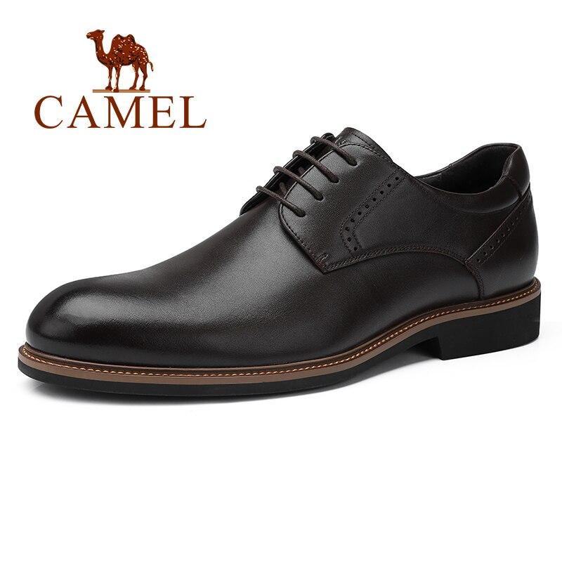 Wielbłąd formalne biznes męskie buty z prawdziwej skóry but męski Retro elegancka koronkowa Party obuwie mężczyźni Oxford chaussure homme w Buty wizytowe od Buty na  Grupa 1