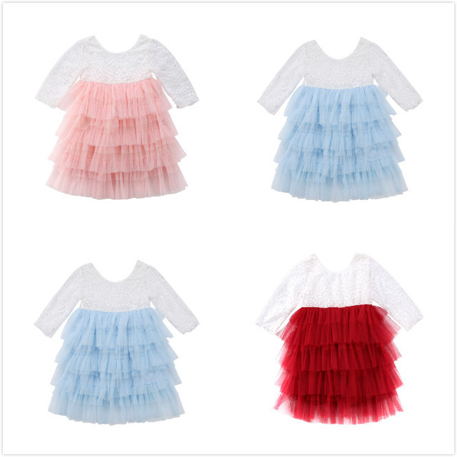 af059c467489d US $5.63 6% OFF Kid Girls Princess Dress Newborn Baby Girl Lace Tulle Party  Pageant Dress Prom Wedding Flower girl Dresses-in Dresses from Mother & ...