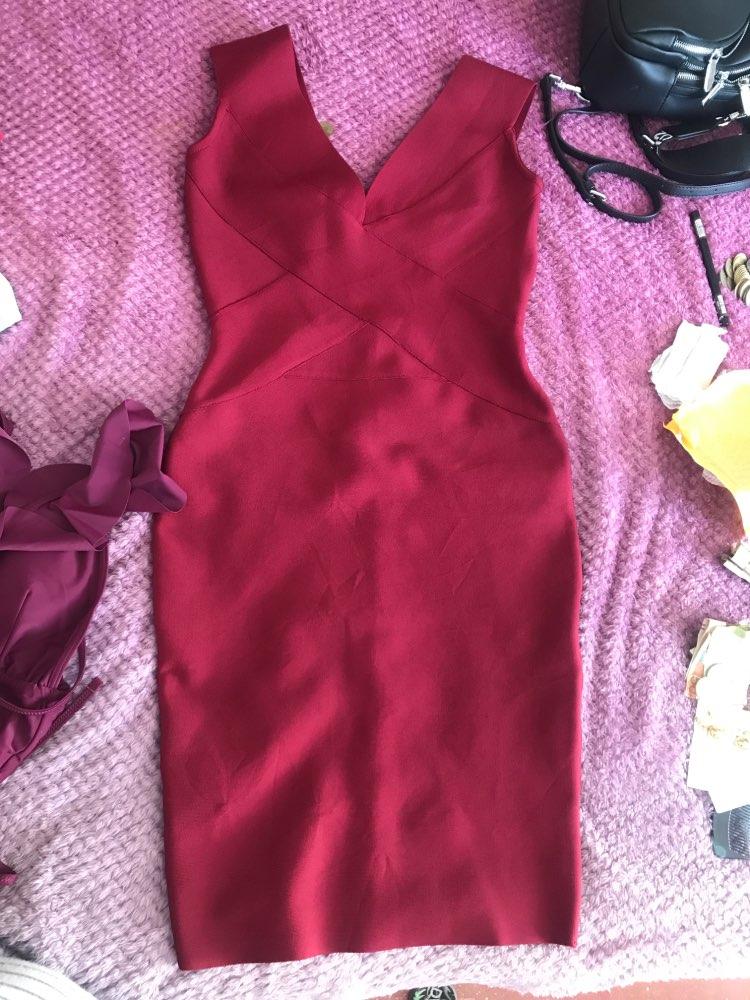 Seamyla Sexy Dress Club Wear Party Dress  Arrivals Sleeveless Orange Wine Red Women Bandage Dresses Bodycon Vestidos photo review