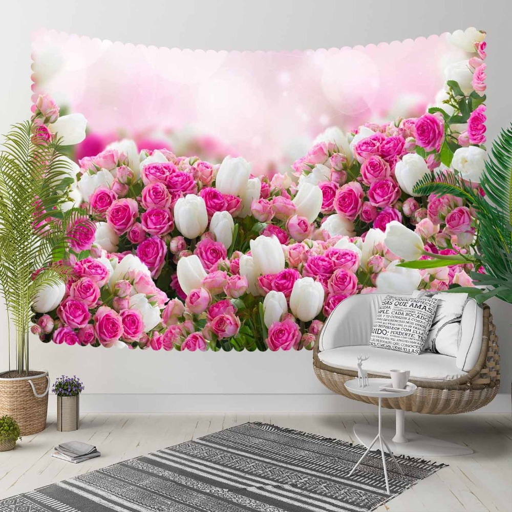 Else Pink White Roses Flowers Tulips Floral Flowers 3D Print Decorative Hippi Bohemian Wall Hanging Landscape Tapestry Wall Art