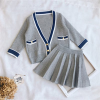 2PCS WLG girls autumn spring clothing set kids girls casual gray knitted sweater and skirt set baby all match clothes children