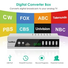 US Canada Market Digital Analog Converter Media Player and USB Recording1080P ATSC Terrestrial Broadcast Tv Box Receiver Antenna