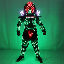 LED Robot Costumes Clothes LED Lights Luminous Stage Dance Performance Show Dress for Night Club(China)