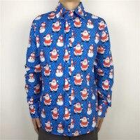 Blauw Kleur Kerstman Gedessineerde Lelijke Kerst Shirt voor Mannen Grappige Xmas Party Mannelijke Dress Shirt Plus Size M-2XL