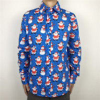 Blue Color Santa Claus Patterned Ugly Christmas Shirt For Men Funny Xmas Party Male Dress Shirt