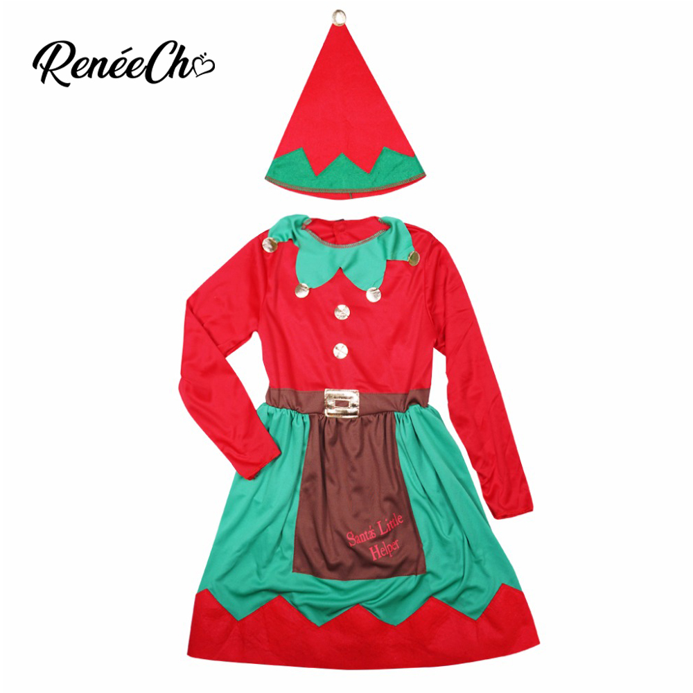 Reneecho 2018 Toddler Christmas Costume for Kids Santa Claus Dress Girls Holiday Christmas Elf Cosplay Children Festival Outfit
