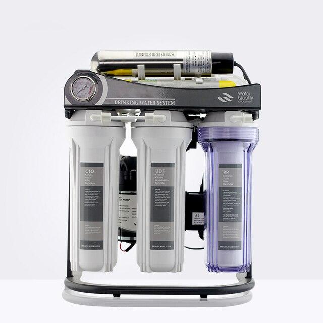 ホット販売 7 ステージ家庭用逆浸透システム 50GPD とスタンド、 UV と圧力計/220 V/ヨーロッパ 2 ピンプラグ