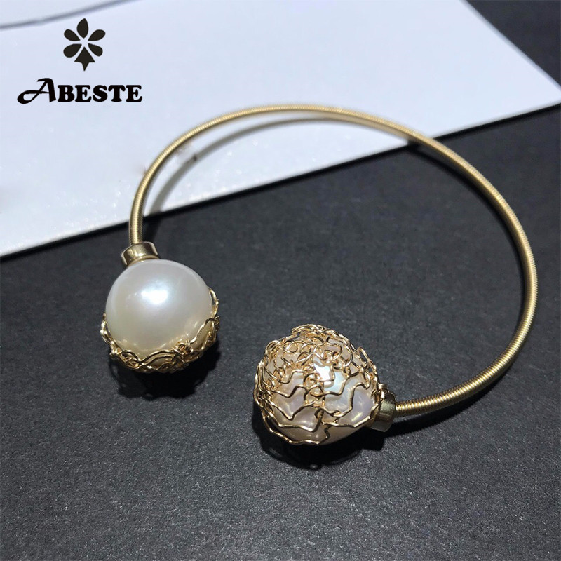 ANI 14K Roll Gold Handmade Women Bangle Freshwater White Pearl oorbellen Roll Gold boucle d oreille Fashion Design Fine Jewelry серьги кольца fashion in 40 d oreille brincos argola pequeno 40er 1