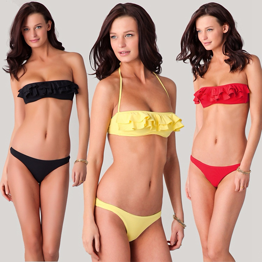 MISSMEOW bikini wrapped chest ruffle swimsuit swimwear women high waist bathing suit swimming push up bikinis