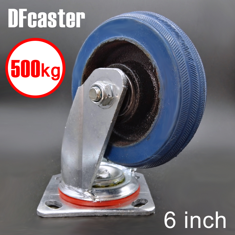 Super Rubber 500kg Heavy Load 6 inch casters 360 Degree Caster carrying wheel Universal Castor Double bearing Trolley Wheels new 4 swivel wheels caster industrial castor universal wheel artificial rubber heavy casters brake 360 degree rolling castors
