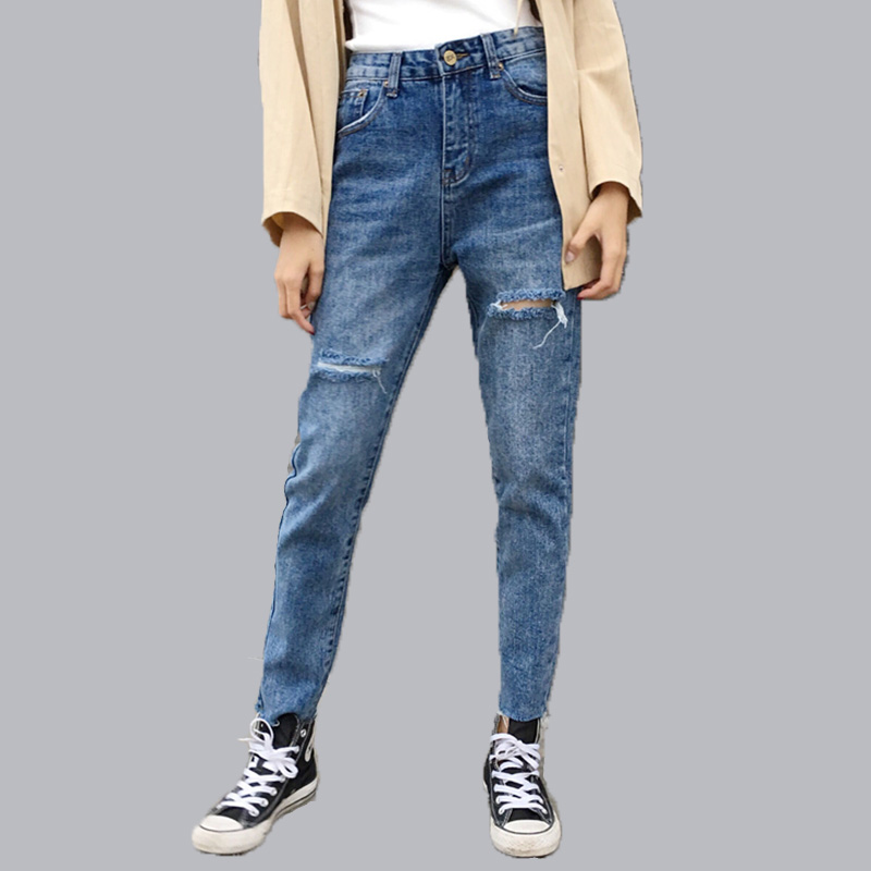 Apparel Hole Ripped Jeans Women Pants Denim Vintage Straight Ladies Jeans For Girl Mid Waist Casual Ankle-Length Pants Female
