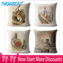 FOKUSENT Peter Rabbit Pattern Printed Pillow Cover Skull Cushion Covers Animal Case for Home Sofa Decorations Pillowcase