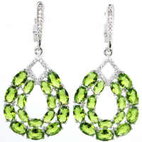 8.2g Real 925 Solid Sterling Silver Long Big Heavy Green Peridot Cubic Zirconia Ladies Earrings 48x22mm
