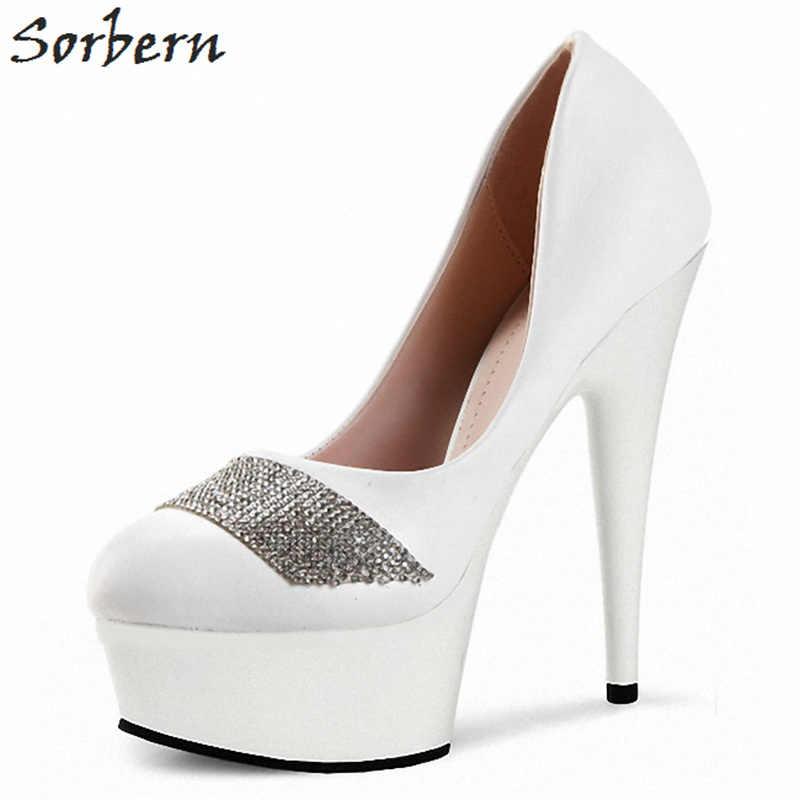 Sorbern eleganckie buty damskie pompy wysokie szpilki 15 Cm/17 Cm/18 Cm Slip On buty sukienka pompy luksusowy projektant buty dla pań