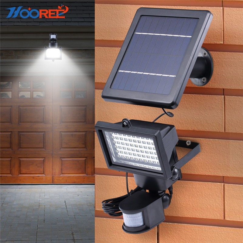 HOOREE 60 LED Solar Lamp Solar Power Energy Motion Sensor Led Outdoor Light Garden Solar Security Wall Light Garage Waterfroof