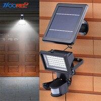 Hooree 60 led 태양 램프 태양 에너지 에너지 모션 센서 led 야외 조명 정원 태양 보안 벽 빛 차고 waterfroof
