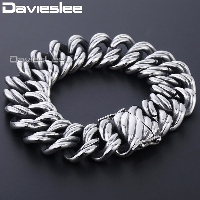 Davieslee Double Curb Cuban Chain Bracelet Mens Wristband Bangle 316L Stainless Steel Silver Tone 22mm DHB465