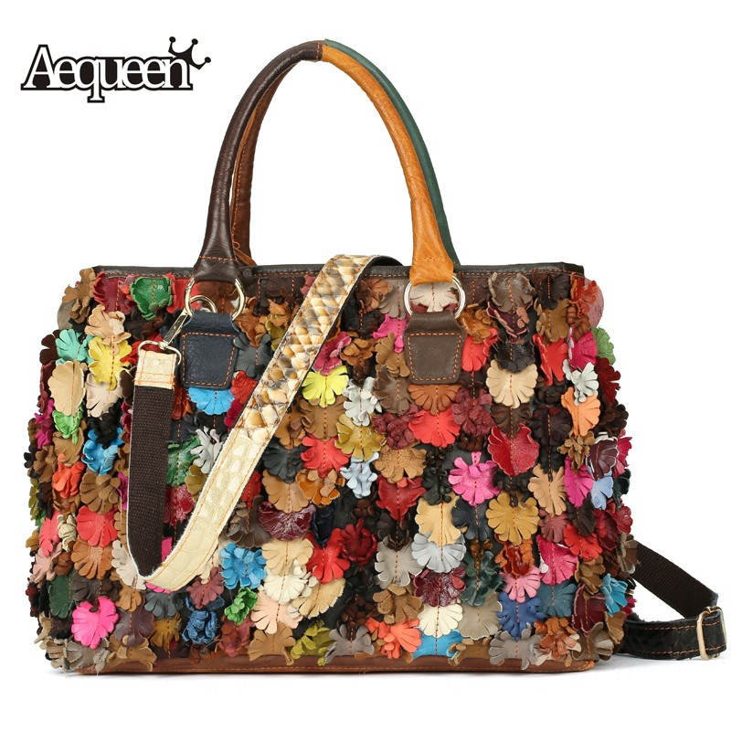 AEQUEEN Genuine Leather Colorful Flower Patchwork Women Handbags Ladies Tote Crossbody Bag Shoulder Bags Random Color Large genuine leather women striped handbags patchwork lady shoulder crossbody bag brand design colorful stripe sling bag random color