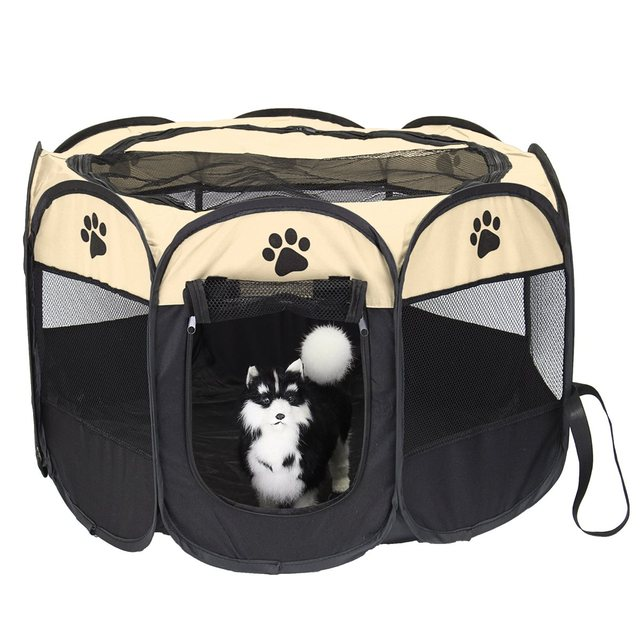Pet Dog Cat Playpen Tent 8 Panel Portable Puppy Cage  Soft Crate Folding Exercise Kennel Play Game Houses Safe Fence