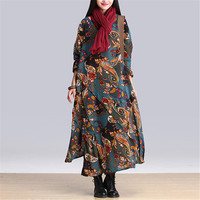 Women Boho Print Dress Winter Cotton Linen Vintage Retro Dresses 2018 Ladies Casual Loose Long Maxi