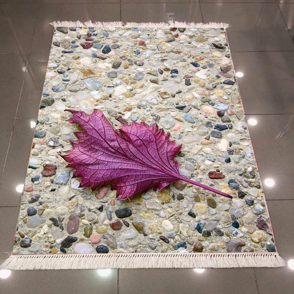 Autre pierre de galets mosaïque marron route feuille pourpre impression 3d microfibre anti-dérapant dos lavable décoratif Kilim tapis tapis