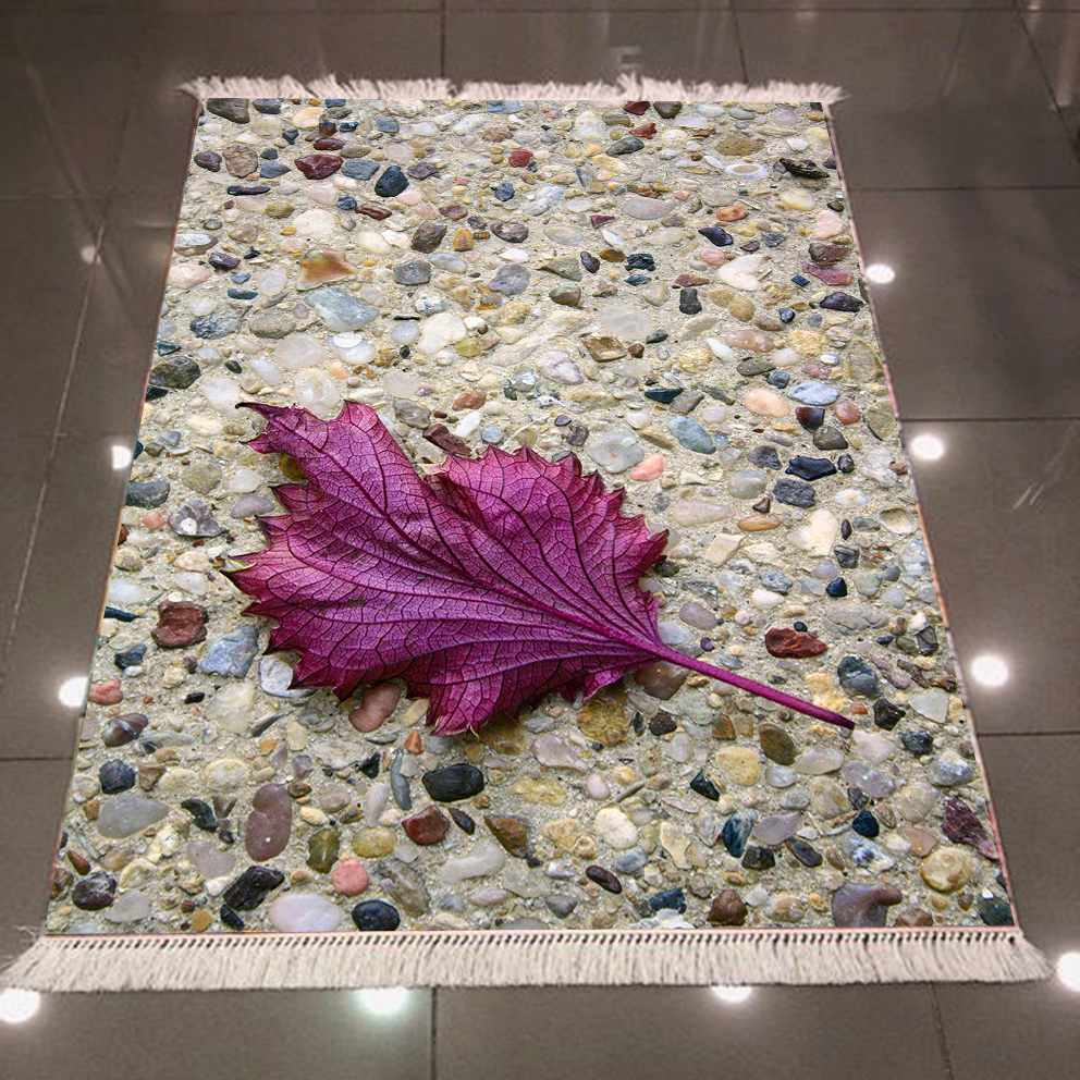 Else Brown Mosaic Pebble Stones Road Purple Leaf 3d Print Microfiber Anti Slip Back Washable Decorative Kilim Area Rug Carpet