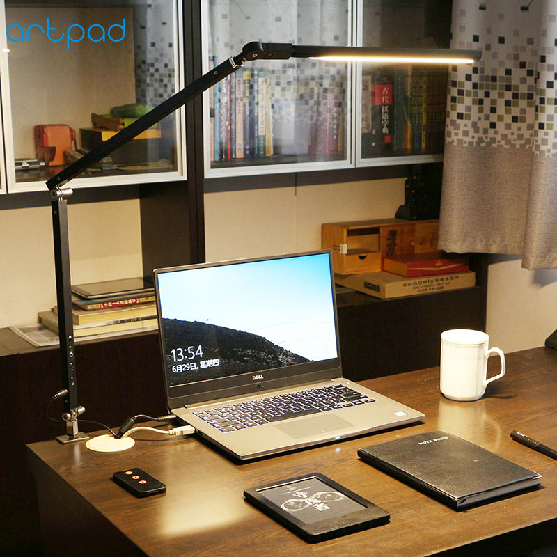 Artpad 8W Clamp Long Arm Desk Lamp 3 Brightness Dimming Folding Adjustable LED Modern Table Lamp