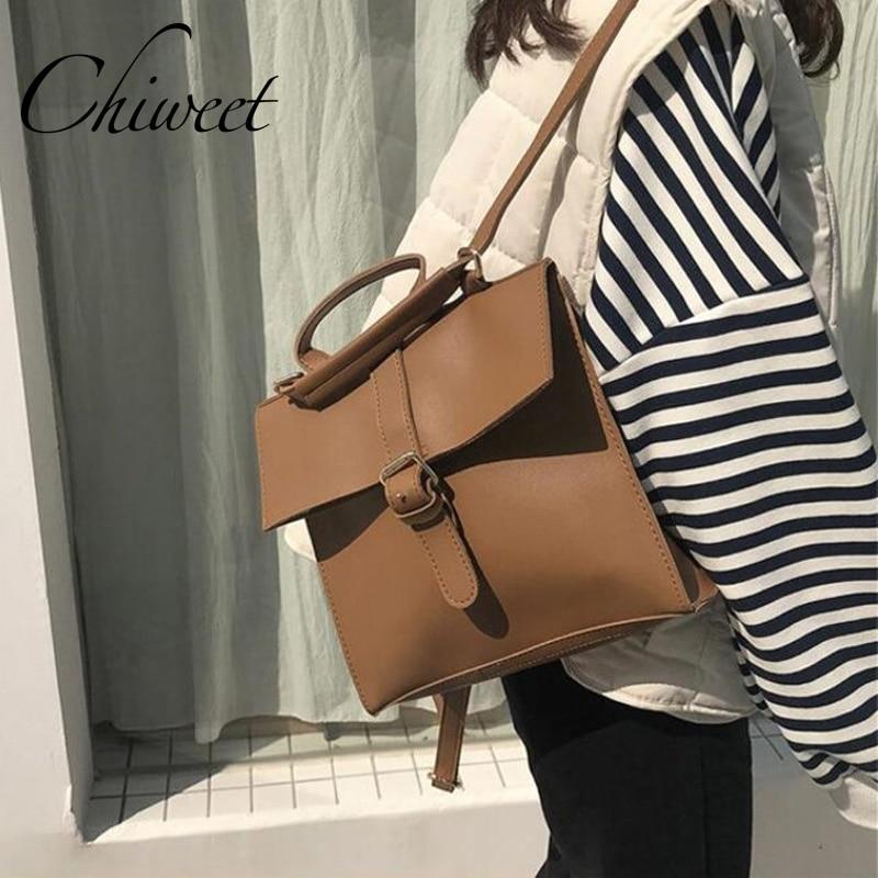 Korean Middle School Designer Leather Backpacks Brand Vintage Shoulder Bag Student Small Backpack Girl Bookbag Female Travel Bag